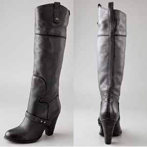 Sam Edelman Naharra Grey leather knee high boots